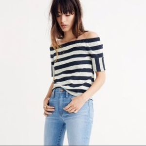 Madewell textures stripe off the shoulder top